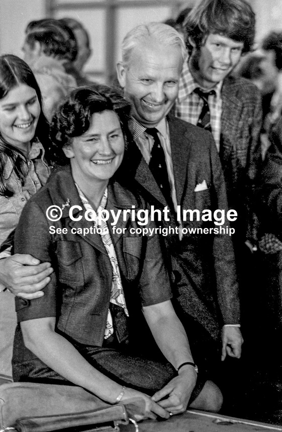 Ulster Unionist politician Brian Faulkner pictured with wife Lucy after his election to the new N Ireland Assembly for South Down. A son and daughter are also in the photo. 30th June 1973 197306300502<br />