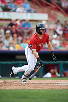 Erie SeaWolves center fielder Mike Gerber (17) runs to first base during a game against the Akron RubberDucks on August 27, 2017 at UPMC Park in Erie, Pennsylvania.  Akron defeated Erie 6-4.  (Mike Janes/Four Seam Images)