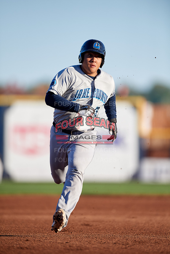 Lake County Captains designated hitter Li-Jen Chu (13) runs the bases during a game against the Quad Cities River Bandits on May 6, 2017 at Modern Woodmen Park in Davenport, Iowa.  Lake County defeated Quad Cities 13-3.  (Mike Janes/Four Seam Images)