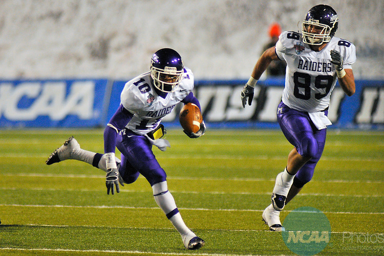 19 DEC 2009: Cecil Shorts III (10) of Mount Union College scores one of his two touchdowns against the University of Wisconsin-Whitewater during the Division III Men's Football Championship held at Salem Stadium in Salem, VA.  Wisconsin-Whitewater defeated Mount Union 38-28 for their second national title.  Andres Alonso/NCAA Photos