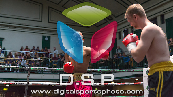 Robert Asagba VS Mick Mills - Welterweight Contest. Photo by: Stephen Smith<br /> <br /> Goodwin Boxing: New Era - Saturday 5th Sept 2015.<br /> <br /> York Hall, Bethnal Green, London, United Kingdom.
