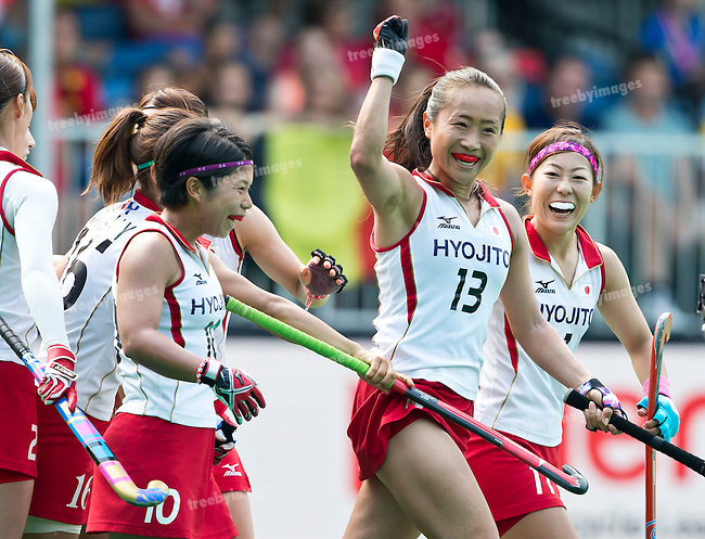 02/07/2015<br /> HWL Semi Final Antwerp Belgium 2015<br /> Japan v Belgium Women<br /> Shihori Oikawa goals for Japan<br /> Photo: Grant Treeby