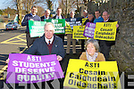 John O'Connor and Maire Ní Iarlaithe and the teachers of ST Brendan's College Killarney on protest about the new Junior on Tuesday