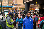 NEW YORK - NOVEMBER 2:  Commuters wait in long lines for Bus service around Grand Central post Hurricane Sandy November 2, 2012 in New York City. (Photo by Donald Bowers )