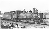 Engineer's-side view of RGS 2-8-0 #40, perhaps at Ridgway.<br /> RGS  Ridgway ?, CO