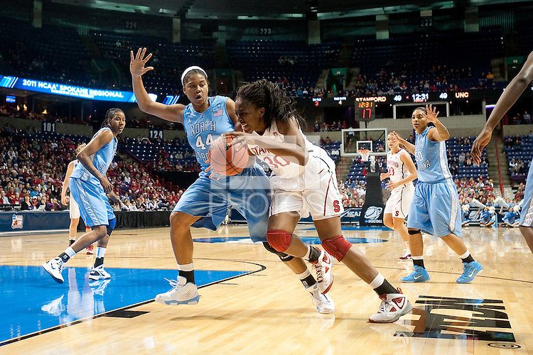 SPOKANE, WA - MARCH 26, 2011: Nnemkadi  Ogwumike, Stanford Women's Basketball vs University of North Carolina, NCAA West Regionals on March 26, 2011.