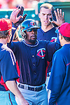 4 March 2013: Minnesota Twins outfielder Brandon Boggs returns to the dugout after hitting a solo home run during a Spring Training game against the St. Louis Cardinals at Roger Dean Stadium in Jupiter, Florida. The Twins shut out the Cardinals 7-0 in Grapefruit League play. Mandatory Credit: Ed Wolfstein Photo *** RAW (NEF) Image File Available ***