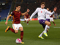 Calcio, Serie A: Roma vs Fiorentina. Roma, stadio Olimpico, 4 marzo 2016.<br /> Roma&rsquo;s Diego Perotti, left, is challenged by Fiorentina&rsquo;s Marcos Alonso during the Italian Serie A football match between Roma and Fiorentina at Rome's Olympic stadium, 4 March 2016.<br /> UPDATE IMAGES PRESS/Riccardo De Luca