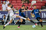FC Internazionale Forward Ivan Perisic (C) fights for the ball with Bayern Munich Defender Rafinha de Souza (L) during the International Champions Cup match between FC Bayern and FC Internazionale at National Stadium on July 27, 2017 in Singapore. Photo by Marcio Rodrigo Machado / Power Sport Images