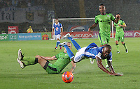 BOGOTA -COLOMBIA, 28-02-2017. XXXXX (R) player of Millonarios  fights for the ball with XXXXX (L) player of Equidad during match for the date 6 of the Aguila League I 2017 played at Nemesio Camacho El Campin stadium . Photo:VizzorImage / Felipe Caicedo  / Staff