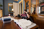 The library being closed for renovations, Jake Towles finds another spot to study for his LSAT.  Photo by Kevin Bain/University Communications Photography