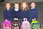 SCHOOL BAGS: Sarah Diggin,Shane Leahy,Megan Barrett and Ruaraí Walsh Causeway who started school at Scoil Chríost Rí, Causeway, on Wednesday.