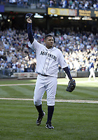 04 October 2009: Seattle Mariners starting pitcher Felix Hernandez thanks the fans as he is removed from the game against the Texas Rangers. Hernandez won his 19th game of the year.  Seattle won 4-3 over the Texas Rangers at Safeco Field in Seattle, Washington.