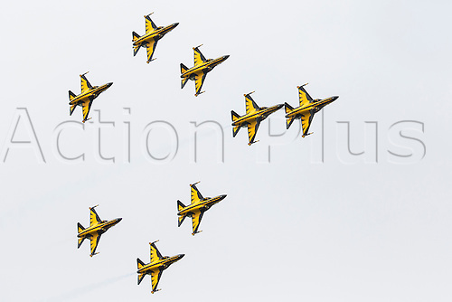07.07.2012 Fairford England. Royal International Air Tattoo South Korean Black Eagles T-50 'Golden Eagle'