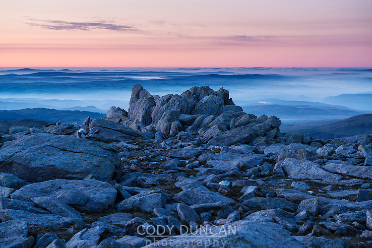 Sunrise from rocky summit of Glyder Fach, Snowdonia national park, Wales