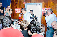 Republican presidential candidate and Ohio governor John Kasich arrives at a town hall campaign event at the Derry VFW in Derry, New Hampshire.