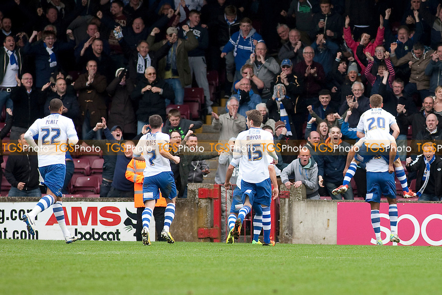 Tom Soares of Bury equalises<br />  - Scunthorpe United vs Bury - Sky Bet League Two Football at Glanford Park, Scunthorpe - 12/04/14 - MANDATORY CREDIT: Mark Hodsman/TGSPHOTO - Self billing applies where appropriate - 0845 094 6026 - contact@tgsphoto.co.uk - NO UNPAID USE