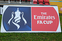 FA Cup signage ahead of Woking vs Watford, Emirates FA Cup Football at The Laithwaite Community Stadium on 6th January 2019