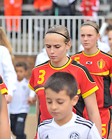 20131011 - SCHWEINFURT , GERMANY :  Belgian Jana Janssens pictured during the female soccer match between Belgium Women U17 and The Netherlands U17 , in the first game of the Elite round in group6 in the UEFA European Women's Under 17 competition 2013 in the Willy Sachs Stadium - Schweinfurt. Friday 11 October 2013. PHOTO DAVID CATRY
