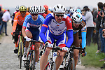 Stefan Kung (SUI) Groupama-FDJ and Oliver Naesen (BEL) AG2R La Mondiale during the 117th edition of Paris-Roubaix 2019, running 257km from Compiegne to Roubaix, France. 14th April 2019<br /> Picture: ASO/Pauline Ballet | Cyclefile<br /> All photos usage must carry mandatory copyright credit (&copy; Cyclefile | ASO/Pauline Ballet)