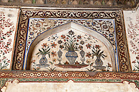 "Agra, India.  Still-life Floral Painting inside the Itimad-ud-Dawlah, Mausoleum of Mirza Ghiyas Beg.  The tomb is sometimes referred to as the ""Baby Taj."""