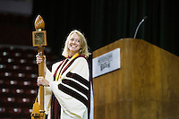 2016 Fall Convocation in Humphrey Coliseum:  Professor Kelly Marsh, Grisham Master Teacher and Mace Bearer.<br />  (photo by Megan Bean / &copy; Mississippi State University)
