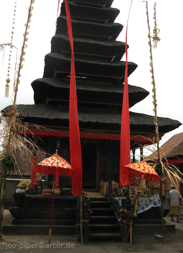 temple pagode in Muncan area, mountains in West  Bali, archipelago Indonesia