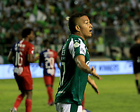 PALMASECA-COLOMBIA,02 -11-2018.eiver Mercado jugador  del Deportivo Cali celebra después de anotar un gol  al Independiente Medellín durante el primer partido por la final de la Copa  Águila II 2019 jugado en el estadio Deportivo Cali de la ciudad de Palmira./ <br /> Feiver Mercado player  of Deportivo Cali celebrates after scoring a goal agaisnt of Independiente Medellín during the first match for the 2019 Águila II Cup final played at the Deportivo Cali stadium in the city of Palmira. Photo: VizzorImage/ Nelson Rios / Contribuidor