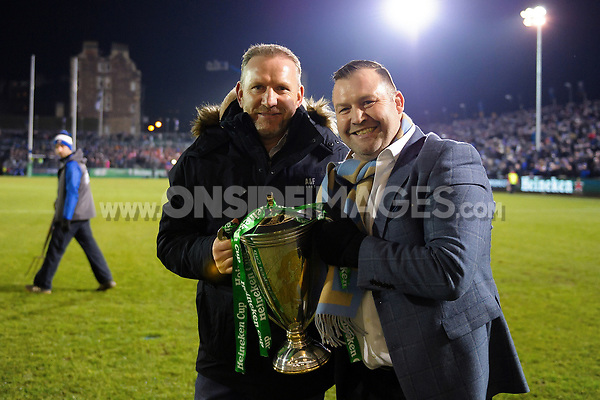 Andy Nichol and Mark Regan pose with the Heineken Cup at half-time. European Rugby Champions Cup match, between Bath Rugby and the Scarlets on January 12, 2018 at the Recreation Ground in Bath, England. Photo by: Patrick Khachfe / Onside Images