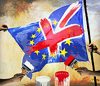 People painting the Union Jack over the European Union flag