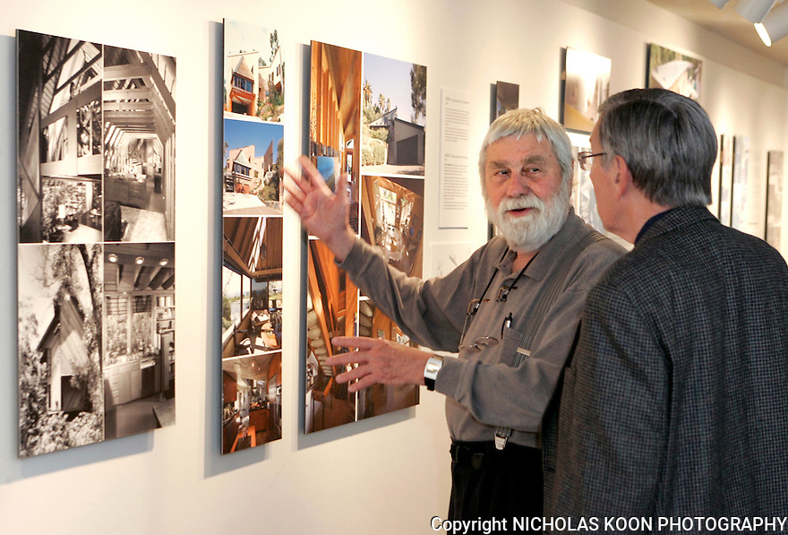 J. Lamont Langworthy, Architect,  talks to architect colleague Richard Dodd at Langworthy's exhibition at The Laguna Art Museum. 10-4-06.
