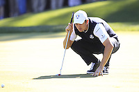 European Team Player Justin Rose (ENG) lines up his putt on the 16th green during Sunday's Singles Matches of the 39th Ryder Cup at Medinah Country Club, Chicago, Illinois 30th September 2012 (Photo Colum Watts/www.golffile.ie)