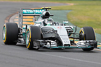 March 14, 2015: Nico Rosberg (DEU) #6 from the Mercedes AMG Petronas F1 Team  rounds turn two during qualification at the 2015 Australian Formula One Grand Prix at Albert Park, Melbourne, Australia. Photo Sydney Low