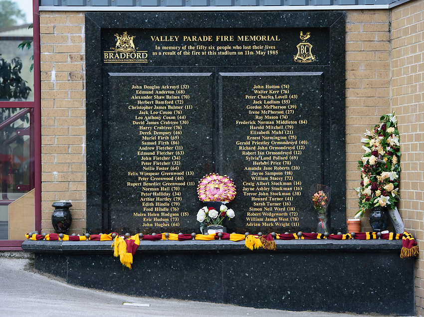 A general view of The Utilita Energy Stadium, commonly known as Valley Parade, home of Bradford City, showing the Bradford Fire Memorial<br /> <br /> Photographer Chris Vaughan/CameraSport<br /> <br /> Carabao Cup Second Round Northern Section - Bradford City v Lincoln City - Tuesday 15th September 2020 - Valley Parade - Bradford<br />  <br /> World Copyright © 2020 CameraSport. All rights reserved. 43 Linden Ave. Countesthorpe. Leicester. England. LE8 5PG - Tel: +44 (0) 116 277 4147 - admin@camerasport.com - www.camerasport.com
