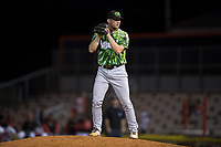 Eugene Emeralds relief pitcher Casey Ryan (24) gets ready to deliver a pitch during a Northwest League game against the Salem-Keizer Volcanoes at Volcanoes Stadium on August 31, 2018 in Keizer, Oregon. The Eugene Emeralds defeated the Salem-Keizer Volcanoes by a score of 7-3. (Zachary Lucy/Four Seam Images)