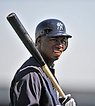 11 March 2009: New York Yankees' outfielder Austin Jackson prepares to take batting practice prior to a Spring Training game against the Detroit Tigers at Joker Marchant Stadium in Lakeland, Florida. The Tigers defeated the Yankees 7-4 in the Grapefruit League matchup. Mandatory Photo Credit: Ed Wolfstein Photo