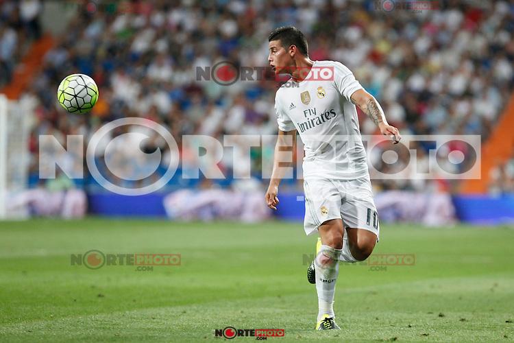Real Madrid´s James Rodriguez during La Liga match at Santiago Bernabeu stadium in Madrid, Spain. August 29, 2015. (ALTERPHOTOS/Victor Blanco)