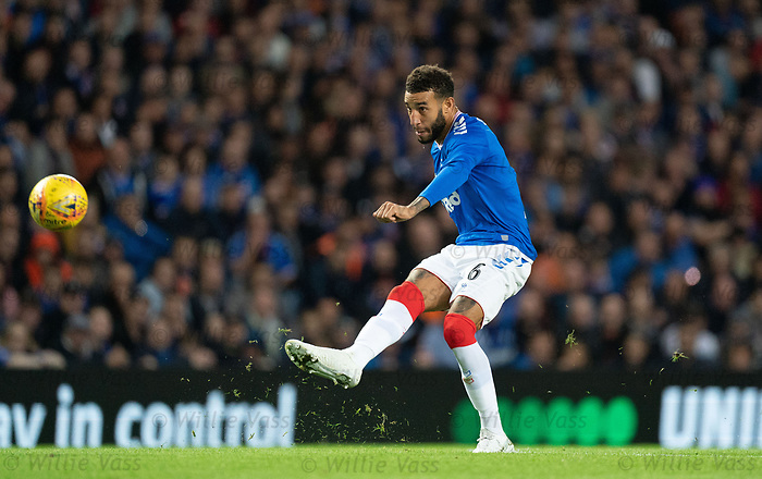 29.08.2019 Rangers v Legia Warsaw: Connor Goldson with a shot