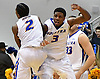 Justin Wright-Foreman #3 and Deron Powers #2 of Hofstra University celebrate after their team's dramatic 79-77 win over Drexel in NCAA men's basketball game at Mack Sports Complex in Hempstead, NY on Saturday, Feb. 4, 2017.