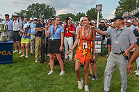 Jena Sims prepares to rush Brooks Koepka (USA) on the green on 18 following the 100th PGA Championship at Bellerive Country Club, St. Louis, Missouri. 8/12/2018.<br /> Picture: Golffile | Ken Murray<br /> <br /> All photo usage must carry mandatory copyright credit (&copy; Golffile | Ken Murray)