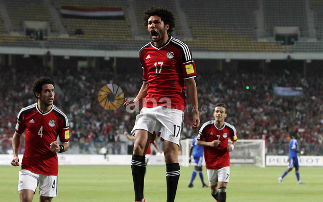 "Egypt's players celebrate after Ahmed Hassan ""Koka"" scored a goal during their 2018 World Cup qualifying soccer match against Chad at Borg El Arab ""Army Stadium"" in the Mediterranean city of Alexandria, north of Cairo, Egypt, November 17, 2015. Spectators will be watching the match after receiving approval from security for the first time in a long time. Photo by Amr Sayed"