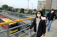 BOGOTA, COLOMBIA - March 13:  People wears face masks as they cross a bridge on March 13, 2020 in Bogota, Colombia. The World Health Organization declared a global pandemic as the coronavirus rapidly spreads across the world. Colombian President Ivan Duque declared a health emergency to contain an outbreak of coronavirus, suspending public events with more than 500 people. (Photo by John W. Vizcaino/VIEWpress)