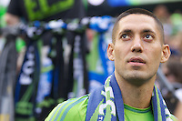 Clint Dempsey is pictured after being introduced as a Sounder before a game against the Sounders FC and FC Dallas at CenturyLink Field in Seattle Saturday August, 3, 2013. The Sounders defeated Dallas 3-0.