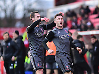 Lincoln City's Shay McCartan, right, celebrates scoring his side's second goal with team-mate Harry Toffolo<br /> <br /> Photographer Andrew Vaughan/CameraSport<br /> <br /> The EFL Sky Bet League Two - Swindon Town v Lincoln City - Saturday 12th January 2019 - County Ground - Swindon<br /> <br /> World Copyright &copy; 2019 CameraSport. All rights reserved. 43 Linden Ave. Countesthorpe. Leicester. England. LE8 5PG - Tel: +44 (0) 116 277 4147 - admin@camerasport.com - www.camerasport.com