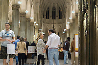 Visitors flock to St. Patrick's Cathedral on Fifth Avenue in New York on Tuesday, September 22, 2015. The cathedral and the area around it will soon be closed off as Pope Francis, the Holy Father, will pray at the Vespers Service in the Cathedral during his New York visit.\.  (© Richard B. Levine)