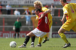 Leigh RMI 0, FC United of Manchester 0, 16/07/2005. Hilton Park, pre-season friendly. United's Steve Torpey holds off an opponent. FC United of Manchester were established by dissident Manchester United supporters in the wake of the Malcolm Glazer takeover of their club. They were admitted to the North West Counties League prior to the 2005-06. Photo by Colin McPherson.