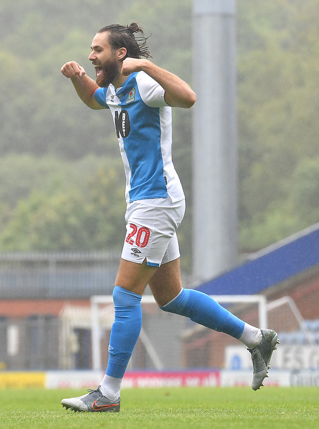 Blackburn Rovers' Ben Brereton celebrares scoring his team's opening goal<br /> <br /> Photographer Dave Howarth/CameraSport<br /> <br /> The EFL Sky Bet Championship - Blackburn Rovers v Reading - Saturday 18th July 2020 - Ewood Park - Blackburn<br /> <br /> World Copyright © 2020 CameraSport. All rights reserved. 43 Linden Ave. Countesthorpe. Leicester. England. LE8 5PG - Tel: +44 (0) 116 277 4147 - admin@camerasport.com - www.camerasport.com