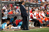 01.04.2012 MADRID, SPAIN -  La Liga match played between At. Madrid vs Getafe (3-0) at Vicente Calderon stadium. the picture show Luis Garcia Plaza coach of Getafe C.F.