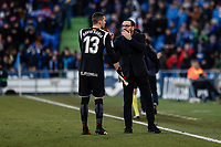 26th January 2020; Coliseum Alfonso Perez, Madrid, Spain; La Liga Football, Club Getafe Club de Futbol versus Real Betis; Jose Bordalas Coach of Getafe CF gives instructions to goalkeeper David Soria for the upcoming penalty