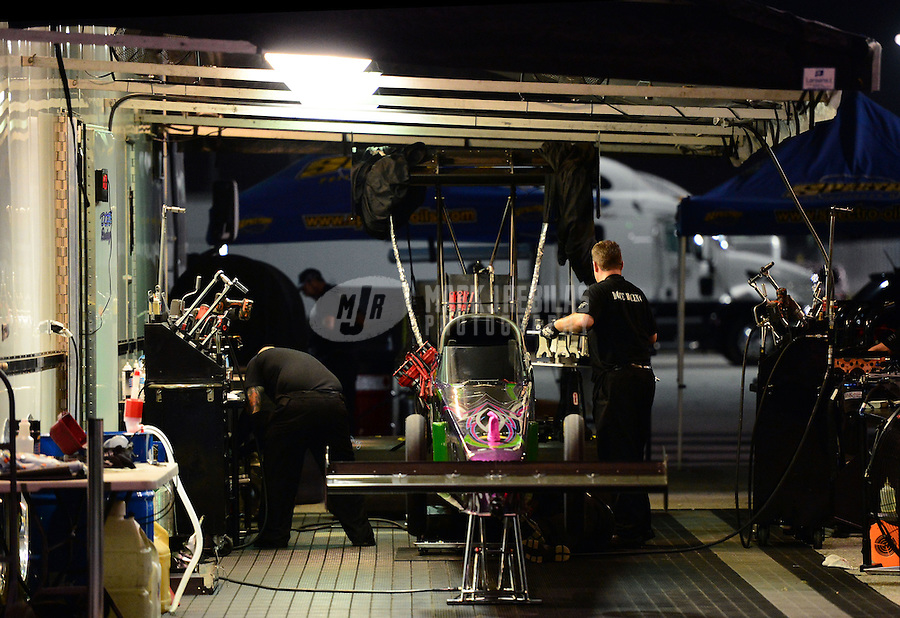 Jan. 17, 2013; Jupiter, FL, USA: The pit area of NHRA top fuel dragster driver Leah Pruett during testing at the PRO Winter Warmup at Palm Beach International Raceway.  Mandatory Credit: Mark J. Rebilas-